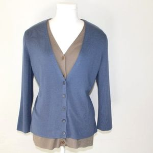 Akris Punto silk cashmere blue brown layered double cardigan